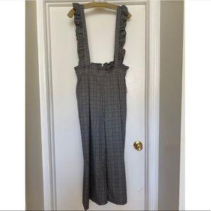 Grey plaid overalls